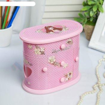 Шкатулка музыкальная механическая комод принцессы розовая 17,5.20х11 см