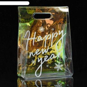 Пакет из голографического пластика happy new year, 18 х 24 х 6,5 см