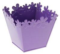 Кашпо оцинкованное цветочный край 10*11 см, фиолетовое