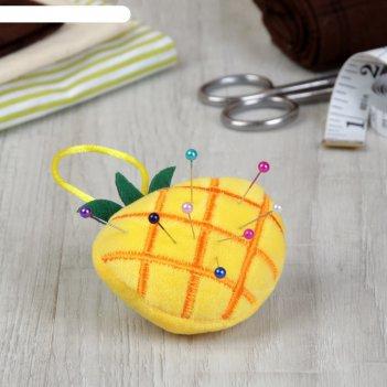 Игольница с петлёй ананас, цвет жёлтый