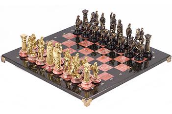 Шахматы римляне доска змеевик креноид 440х440 мм 12 кг