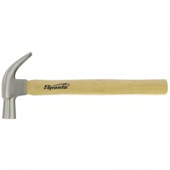 Молоток-гвоздодер, 450 г, боек 27 мм, деревянная рукоятка sparta