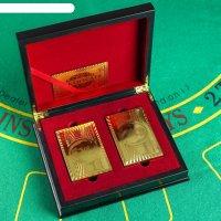 Карты игральные пластик золотая коллекция, 2 колоды по 54 шт, 30 мкр 8.8х5