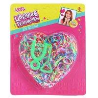 Резиночки для плетения сердечко двухцветные 200 шт., пяльца, крючок, микс
