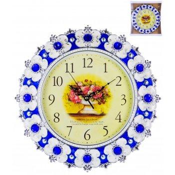 Часы настенные круглые home art «синий барокко» 33 см