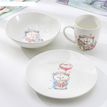 Набор посуды кроха, 3 предмета: тарелка 17,5 см, миска 250 мл (17,5 см), к