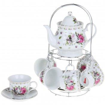 Сервиз чайный цветочный маскарад, 13 предметов на подставке: 6 чашек 210 м