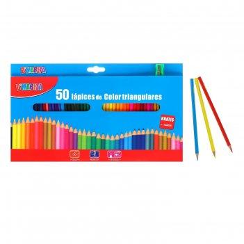 Карандаши цветные 50 цветов треугольные, матовые, деревянные, в картонной