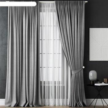 Комплект штор «каспиан», размер 170х270 см, серый