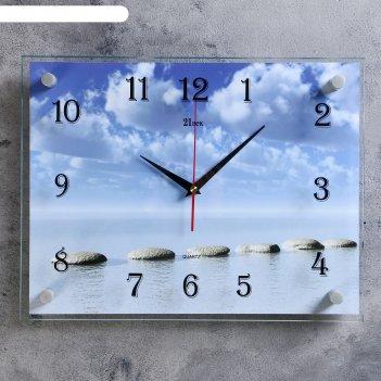 Часы настенные, серия: море, камушки на воде, 30х40  см, микс