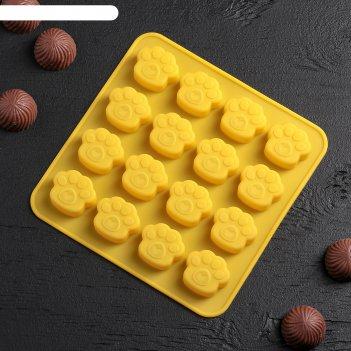 Форма для льда и шоколада 16x15,5 см «лапки», 16 ячеек (3x2,7x0,5 см), цве