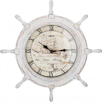 Часы настенные кварцевые штурвал цвет:белый 66*6...