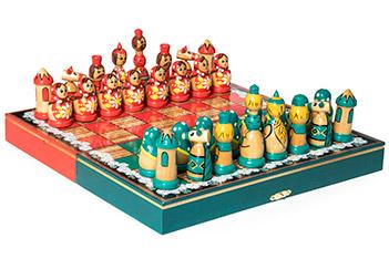 Шахматы матрешки зеленые-красные 30х30см ручная роспись