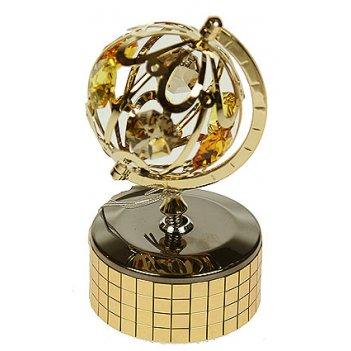 Фигурка декоративная глобус на музыкальной подставке 6*9см (