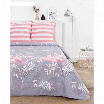 Постельное бельё 1,5сп сударушка «фламинго», цвет розовый, 150х215см,150х2
