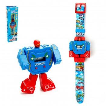 Робот-трансформер «робо-часы», работает от батареек
