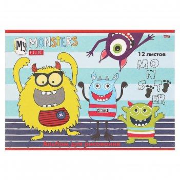 Альбом для рисования а4, 12 листов «радостные монстрики», бумажная обложка