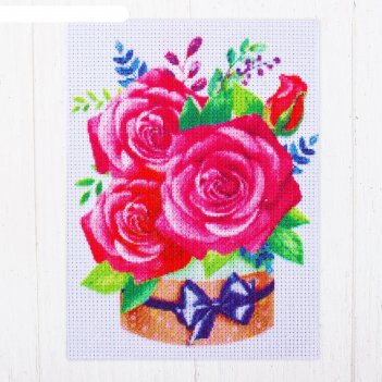 Канва для вышивки крестиком букет из роз, 20 х 15 см