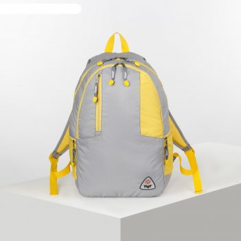 Рюкзак турист латес 2,28л, 29*18*48, 2 отд на молниях, н/карман, серый/жел