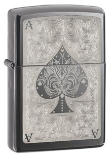 Зажигалка zippo ace, латунь с покрытием black ice®, черный, глянцевая, 36х