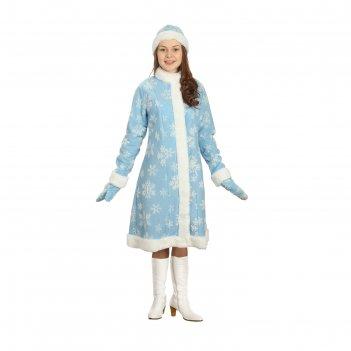 Карнавальный костюм снегурочка, шубка, шапочка, рукавички, р-р 54