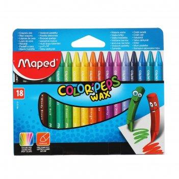 Восковые мелки 18 цветов colorpeps wax, трехгранные