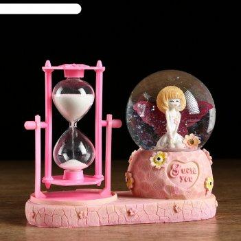 Часы песочные милый ангел, розовый, с подсветкой  16х8х13.5 см