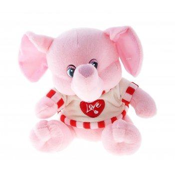 Мягкая игрушка слоник розовый на кофте сердечко