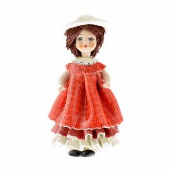 00116 кукла в красном платье и шляпке h15