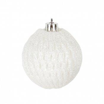 Украшение елочное белый шар d=6см. (пластик) (упаковочный пакет с хедером)