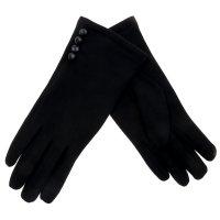 Перчатки женские collorista пуговички черные р-р 22, 80% п/э, 20% хлопок