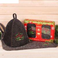 Набор банный: шапка и коврик морозного года и жаркой баньки