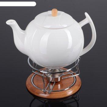 Заварочный чайник с подогревом на деревянной подставке эстет 800 мл