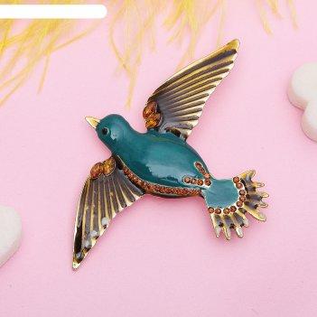 Брошь птица парящая, цвет черно-морской в золоте