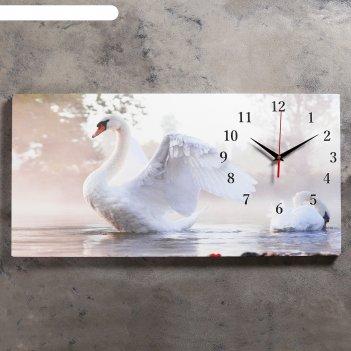 Часы настенные на холсте белый лебедь, 40х76 см  микс