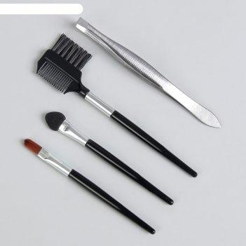 Набор 4пр: аппликатор, расчёска д/ресниц, пинцет, кисть чёрн/серебр пакет