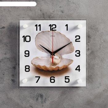 Часы настенные, серия: море, жемчужина в ракушке, 25х25  см, микс
