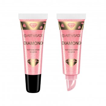 Блеск для губ art-visage diamond, в тубе, тон 53, розовый агат