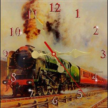 Картина сваровски - часы локомотив