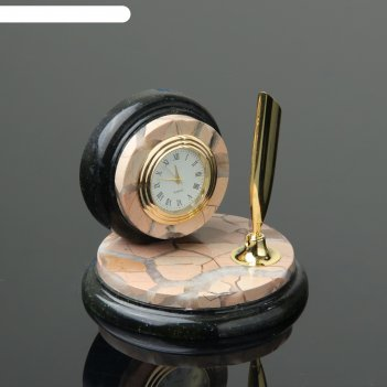 Набор настольный круг, с часами, 10х10 см, яшма, змеевик