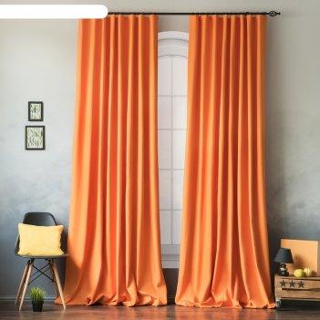 Комплект штор «билли», размер 170 x 270 см-2 шт, подхват-2 шт, цвет оранже