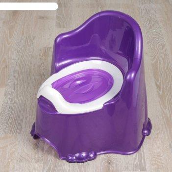 Горшок детский антискользящий «комфорт» с крышкой, съёмная чаша, цвет фиол