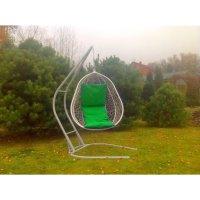 Подвесное кресло на стойке капри, белое/ зелёная