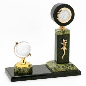 Настольные часы стелла с глобусом змеевик