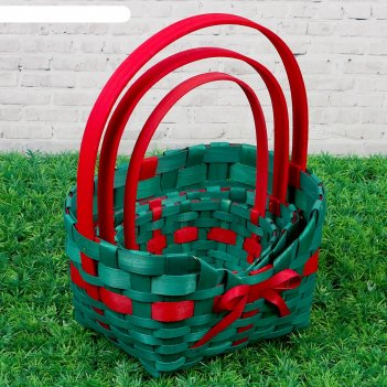 Набор корзин «сумочка», зелёные, 3 шт: 27x21x9,5/33, 21x15x8,5/30,5, 16x10