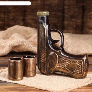 Штоф с рюмками пистолет за службу отечеству набор 3 предмета, 0,2 л