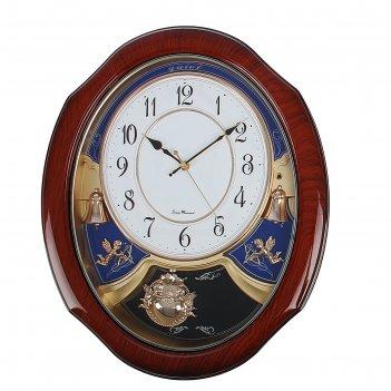 Часы настенные серия элея с маятником, овал с цветами ангелочками и колоко