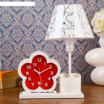 Часы светильник цветочек с карандашницей, патрон е14, 25*16,5*30 см.