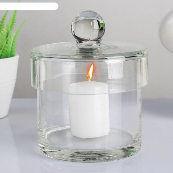 Ваза-цилиндр стеклянная труба с крышкой, с белой свечей, 10,7x10,5 см