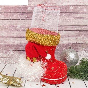 Подарочная упаковка сапожок красный с дедом морозом и завязками